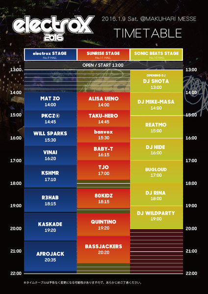 electrox2016 TIMETABLE